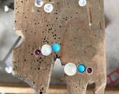 Reserved Listing for Ai-Ch'ng, CC Climber Stud with Recycled Sterling Silver & 14k  Gold, Garnet, rainbow moonstone and turquoise
