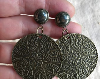 Pyrite and stamped dangle earrings, floral earrings, boho earrings