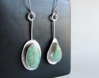 Alacron Turquoise Earrings - Asymmetrical Earrings - Mismatched Turquoise Earrings - 25th Anniversary Gift - Valentine's Gift