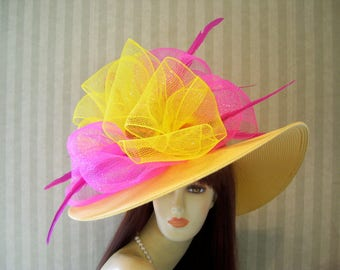 Preakness Hat, YeLLoW and PiNk Hat, Horse Race Hat, Belmont Hat, Wedding Hat, Tea Party Hat, Ascot Hat, Bridal Hat