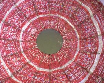 Red African Bead Basket-Fruit Basket-Beaded Art Basket-African Art-Weaved Basket