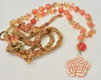 Long Orange Floral Necklace, Boho Necklace, Peach Floral Jewelry, Boho Flower Necklace, Wearable Art, Statement Necklace, Fiber Art Jewelry