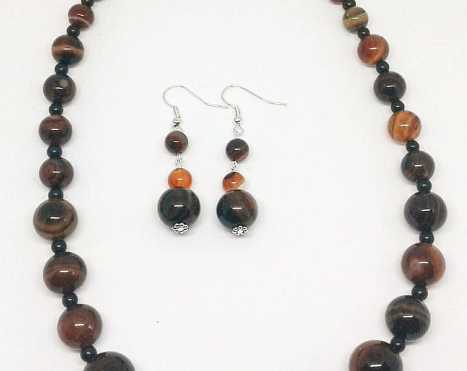 Item # 201705 Burnette, Agate and Black Stone Necklace and Earring Set, Handmade Jewelry, Handcrafted Jewelry, 20 Inches long.