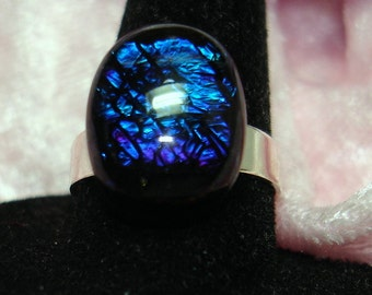 Dark Blue Sparkly Handmade Fuse Dichroic Glass Cab Ring - R162
