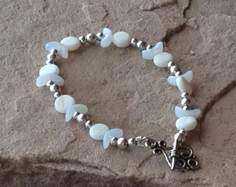 God Symbol Bracelet, Silver and Mother of Pearl with Milkglass Crescents, 7.5 inches, Horned God, Priestess Gift, Initiation Gift Blessed Be