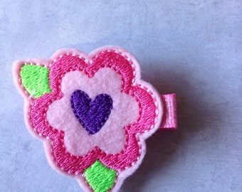 Valentines Hair Clip, Girls Hair Bow, Toddlers Hair Clip, Pink & Purple Flower Heart Hair Clip, Clippies, Valentines Day (Item 17-009)