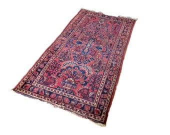 Vintage Persian Rug - 1940s Red Oriental Rug - 2' x 4' - Boho Shabby Chic Entryway Rug - Vibrant Jewel Tone Moroccan Style Decor - Handwoven