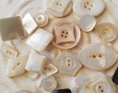 Vintage Buttons - Amazing mother of pearl, 22 small to  midsized assorted carved geometric  designs,  some Victorian(feb 116 17)