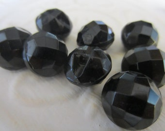Vintage Button -  beautiful lot of 8 matching Victorian jet black round faceted glass design (jan 149-17)