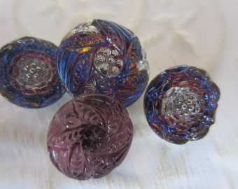 Vintage Style Buttons -4  beautiful Czech pressed glass matching,dragonfly, iridescent purple, blue (jan116-17)
