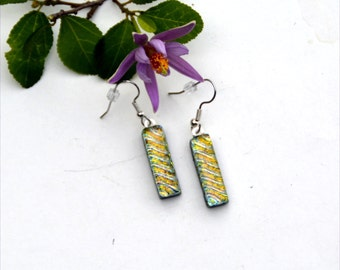 148 Fused glass dichroic earrings, dangles, thin, light peach and yellow stripes, black back