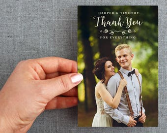 "50+ Wedding Thank you Postcards, notecard, with hand drawn floral detail, ""Harper Style"""