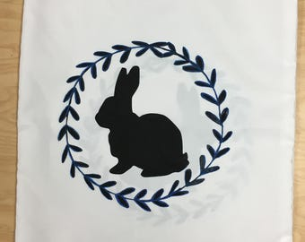Bunny Pillowcase with Blue accents on leaf circle border double sided