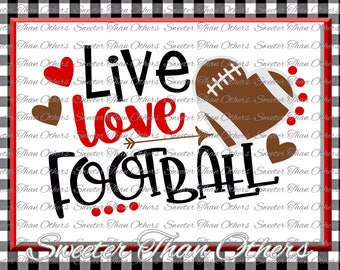 Football SVG Live Love Football Svg  Football pattern Vinyl Design (SVG and DXF Files)  Silhouette, Cameo, Cricut, Instant Download, Scal
