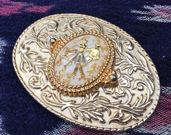 Vintage Gold + Silver Square Dance Belt Buckle | country western cowboy ranch rodeo wear squaredance couple | vtg ACCESSORIES | FOUND by LB