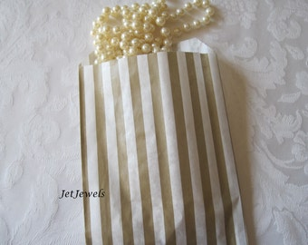 100 Paper Bags, Gift Bags, Gold Paper Bags, Candy Bags, Small Paper Bags, Favor Bags, Stripe Paper Bags, Baby Shower 5x7