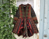RESERVED Deposit//Jewel Tones Reconstructed Bohemian Gypsy Sweater Coat// Multi Colored// Wool Blend// Altered Clothing// emmevielle