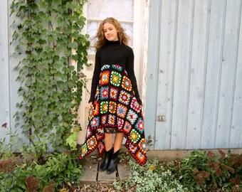 Lg. OOAK Granny Square Crochet Turtleneck Sweater Dress Altered Clothing Black Multicolor emmevielle
