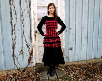 Harlequin Red Black Tiered Ruched Tea Length Dress// Reconstructed// Altered Clothing// Medium// emmevielle