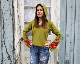 Hooded Pixie Cropped Top Embroidered Floral Appliques// Bell Sleeves// Made to Order XSmall Small Medium Large XL// Leaf Green// emmevielle