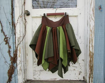 Large Woodland Bohemian Gypsy Fairy Pixie Skirt// Green Brown// emmevielle