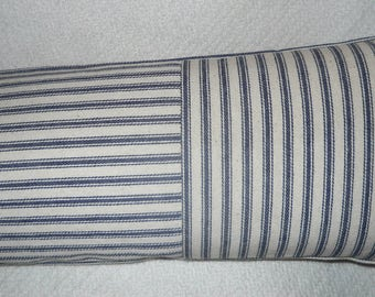 French Country Ticking neck pillow, Waverly Navy n white stripes, Other colors available.        .