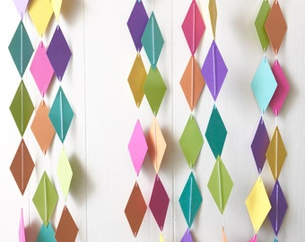20 ft Single Strand Rainbow Diamond Kite Garland - Birthday Decor - Nursery Decor - Backdrop - Photo Prop - Wedding