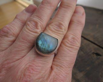 Labradorite ring, hand-stamped ring by teresamatheson