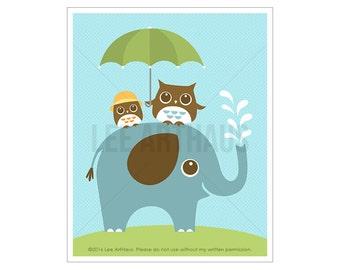 95A Elephant Art Print - Two Owls on Elephant Wall Art - Cute Owl Art - Elephant Print - Baby Elephant Nursery Wall Art - Baby Shower Gift