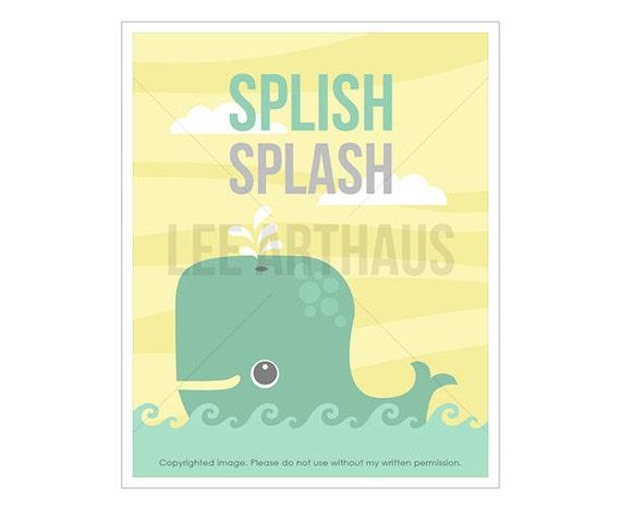 27T Bathroom Print - Splish Splash - Whale Wall Art - Art for Kid Bathroom - Kids Bath Decor - Art for Children - Sea Life Print - Whale Art