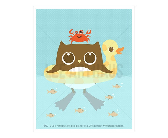 67A Owl Print - Owl in Inflatable Ducky Float Wall Art - Woodland Nursery Art - Woodland Animal Art - Owl Home Decor - Owl Art - Owl Gift