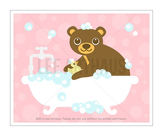 23A Bath Print - Bear in Bubble Bath Wall Art - Bear Print - Bath Room Decor - Bathroom Art - Bath Art - Bathroom Decor - Bear Wall Art