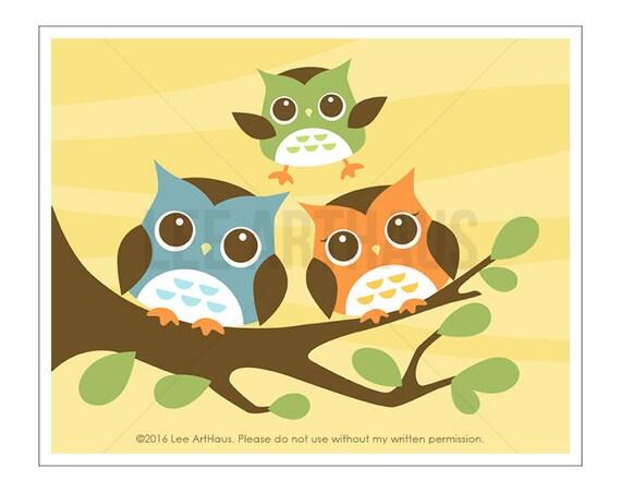 125A Owl Nursery Art - Three Owls Wall Art - Art for Kids Room - Modern Owl Print - Owl Home Decor - Family Wall Art - Woodland Nursery