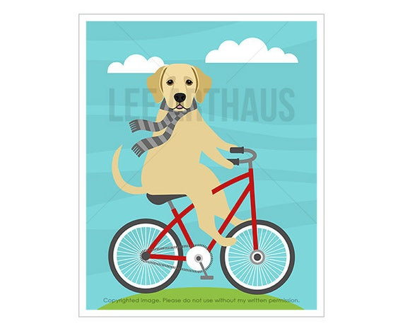 271D Dog Print - Yellow Labrador on Red Bicycle Wall Art - Labrador Retriever Art - Labrador Print - Bicycle Print - Lab Dog Riding Bicycle