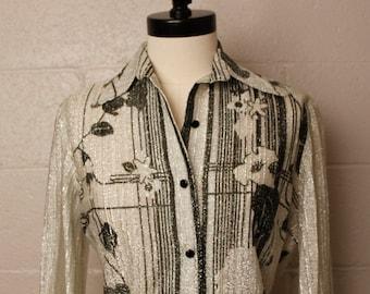 Vintage 1970's Bernardo Silver Black Blouse Shirt 10 M
