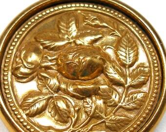 "1800s XL Rose BUTTON, Antique Victorian flowers on brass, 1 3/4""."