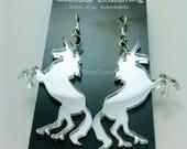 Silver Unicorn Earrings, Magical Majestic Lasercut Acrylic Jewelry