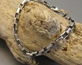 Medium sterling silver rectangular box chain, oxidized chain bracelet for women