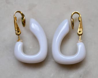 Trifari Mod White Glass Hoops