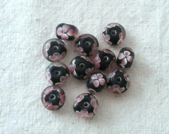 12 x 8 mm Black Glass with Pink Flower 7Rondelles/Beads - Set of 12
