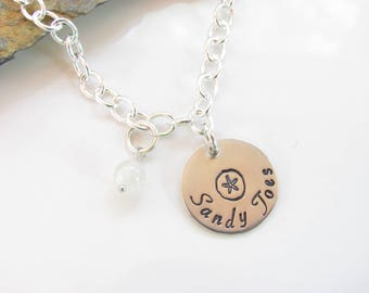 Sterling Silver Charm Bracelet - Stamped Charm with Sandy Toes and Sand Dollar - Moonstone Gemstone Bead - Ready to Ship