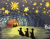 Hand Painted Away in the manger notecard