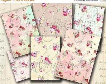 SALE WATERCOLOR ROSE backgrounds Collage Digital Images -printable download file-