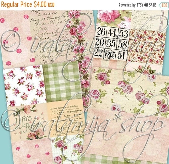 SALE BLISS BACKGROUNdS Collage Digital Images -printable download file- Scrapbook Printable Sheet
