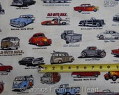 Old Guys Rule Hot Rod Cars Chop Tops Woody on Ivory BY YARDS Robert Kaufman Fabric