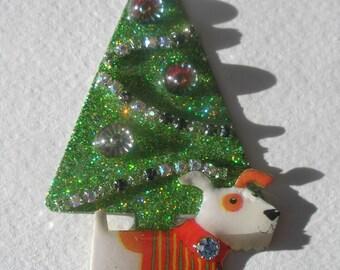 Signed Stephen Dalton Russell Terrier Dog Rivoli Christmas Tree Pin