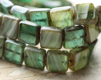 last ones .. CYPRESS SQUARES .. NEW 13 Premium Picasso Czech Glass Square Beads 11mm (B1006-13)