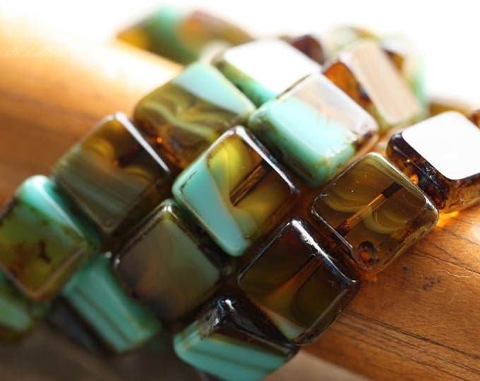 AMBER TURQUOISE SQUARES .. 15 Premium Picasso Czech Glass Square Beads 11mm (B1009-15)
