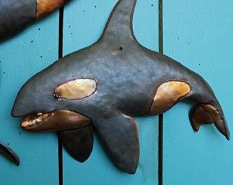 Orca Killer Whale III - copper metal blackfish marine mammal art sculpture - wall hanging  - with slate-black verdigris patina - OOAK