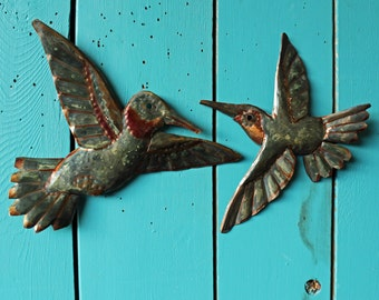Hummingbird Pair - copper metal flying songbird art sculptures - wall hanging - verdigris blue-green and iridescent red-orange patina - OOAK